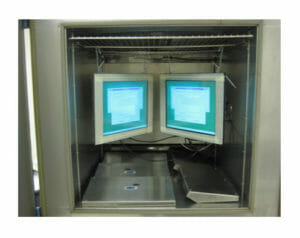 Monitors installed in climatic chamber for temperature and humidity tests