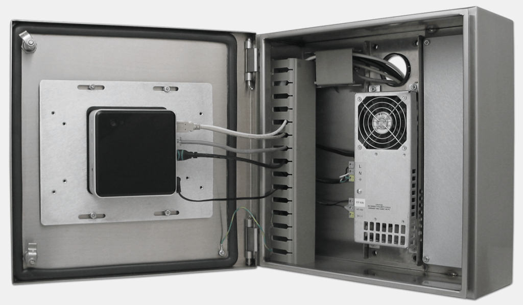 Intel NUC mounted inside a Hope Industrial Thin Client Enclosure