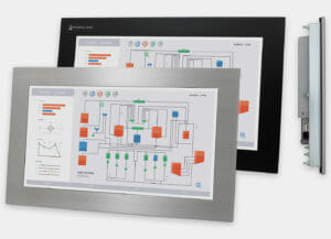 19.5″ Industrial Panel Mount Monitor and Touch Screen, front and side views