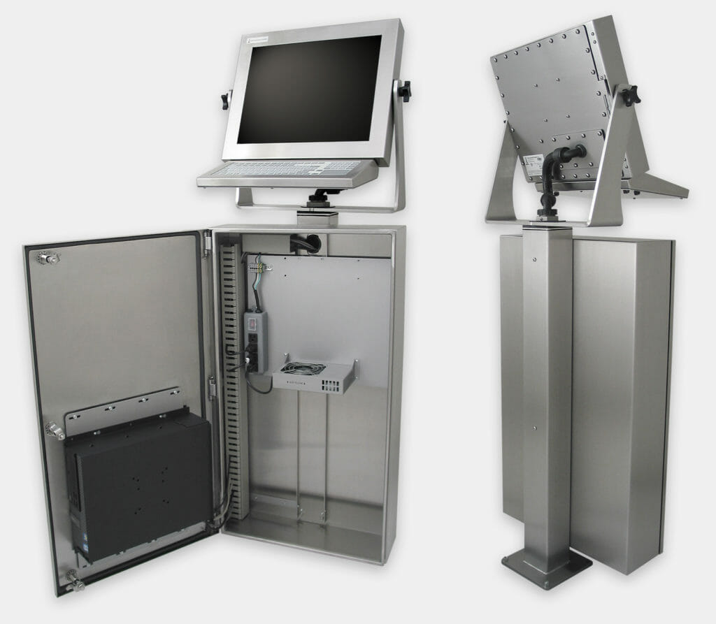 Industrial Enclosure for Commercial / Industrial PCs with generic fan kit, inside and rear view