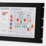 "17"" Rack Mount Industrial Monitors and IP20 Rugged Touch Screens, front and side views"