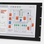 "19"" Rack Mount Industrial Monitors and IP20 Rugged Touch Screens, front and side views"