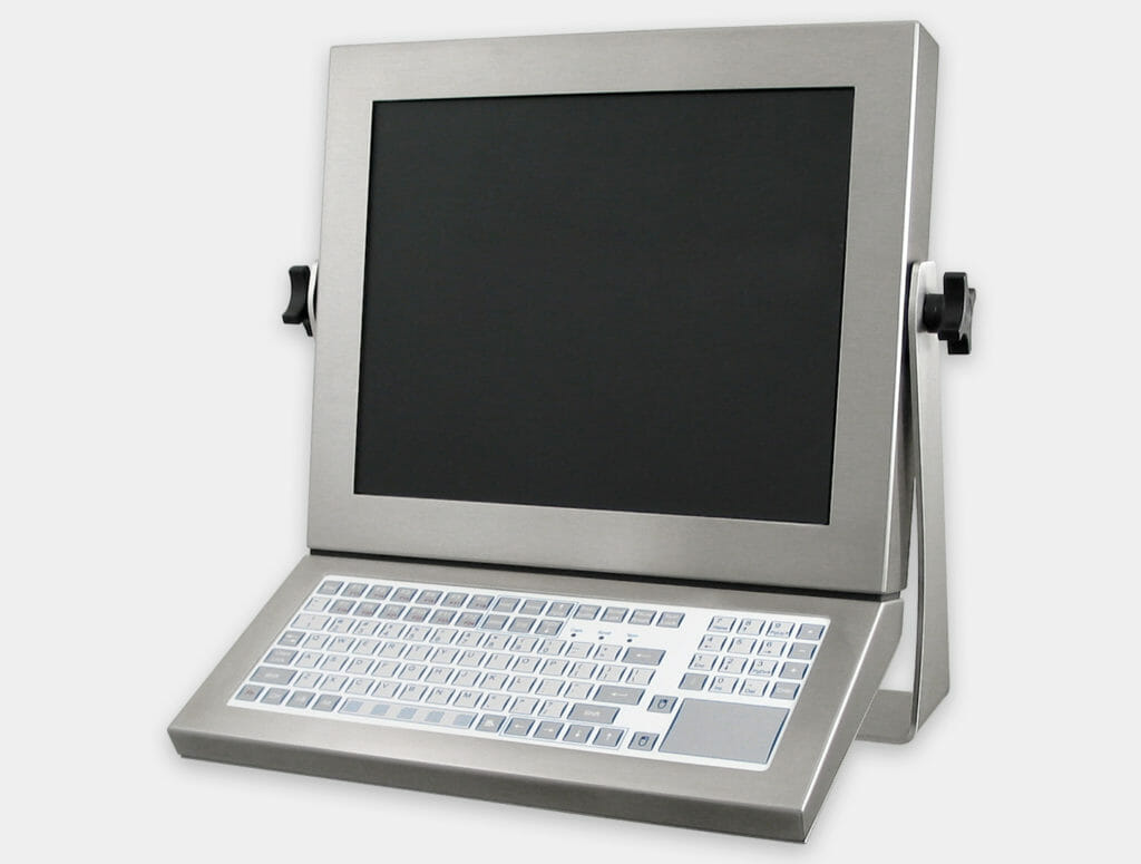 IP65/IP66 Short-Travel Monitor-Mounted Keyboard with touchpad, mounted on Universal Mount Monitor