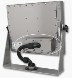Monitor-Mounted Industrial KVM Extender mounted to Universal Mount Monitor