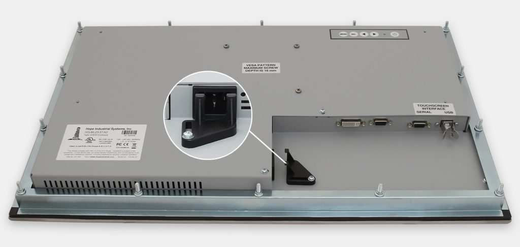 """23"""" Widescreen Panel Mount Industrial Monitors and IP65/IP66 Rugged Touch Screens, AC cable exit view"""