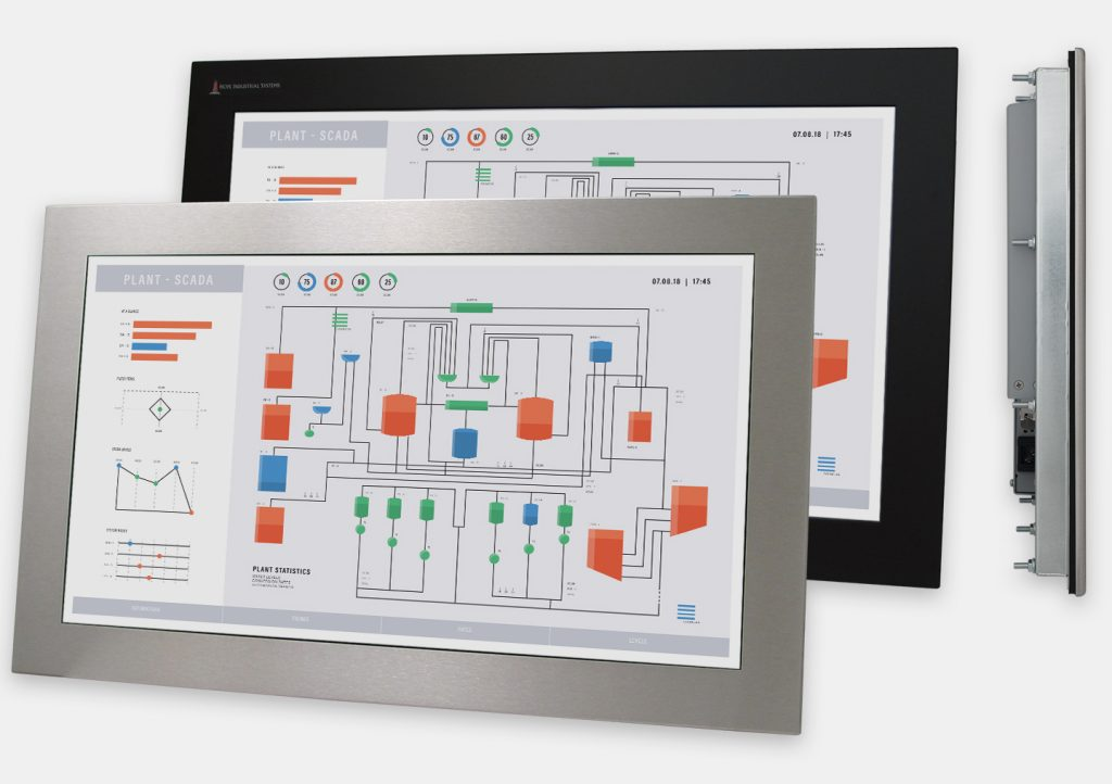 "23"" Widescreen Panel Mount Industrial Monitors and IP65/IP66 Rugged Touch Screens, front and side views"