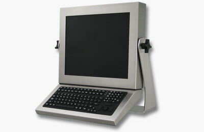 Monitor-Mounted Industrial Full-Travel Keyboard with Button Pointer