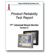 "17"" Universal Mount Monitor Reliability Test Report Cover"