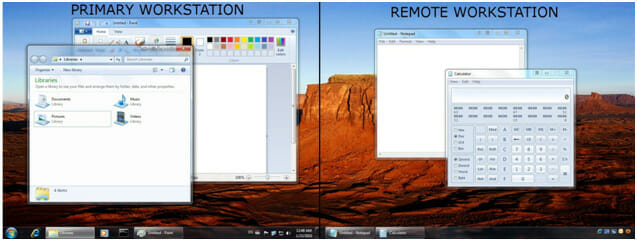 Smart Taskbar appears on the remote monitor for convenient application access
