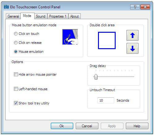 Elo Touch Screen Properties Control Panel
