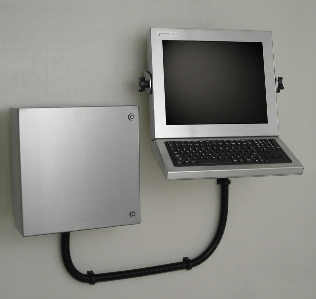 Wall Mounted Workstation with Industrial Enclosure for Thin Clients and Small PCs
