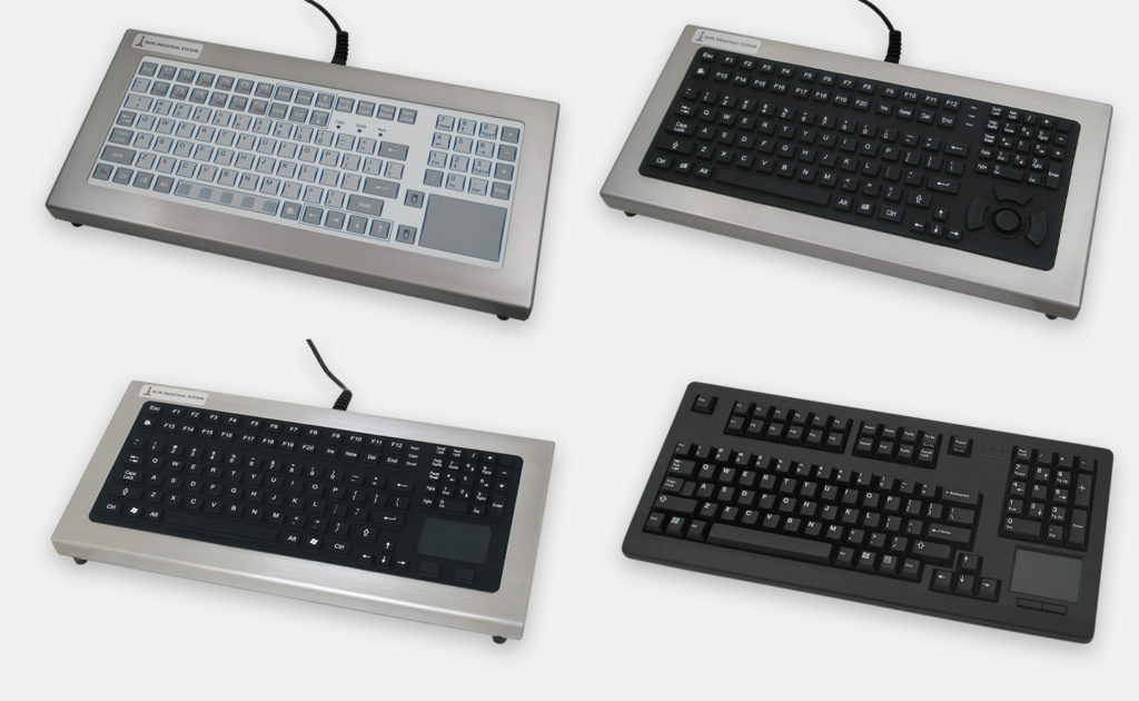 Industrial Benchtop Keyboard Options with Short or Full Travel Keypads and Integrated Pointing Device