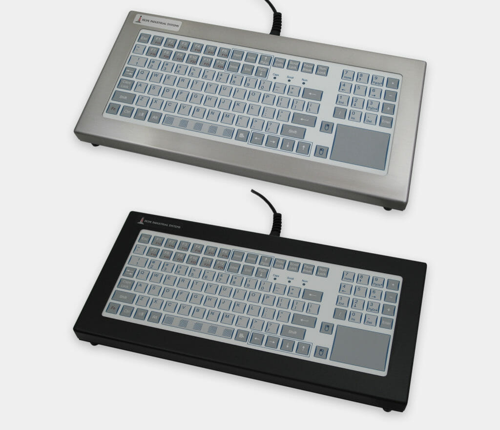 Industrial Short-Travel Benchtop Keyboards with Touchpad Pointing Device, IP65/IP66 Rated