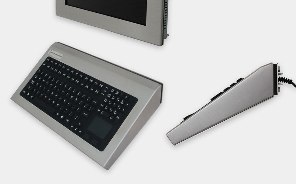 Fixed Wall Mount Industrial Keyboards with Pointing Device, 35 deg. Mount, IP65/IP66 Rated