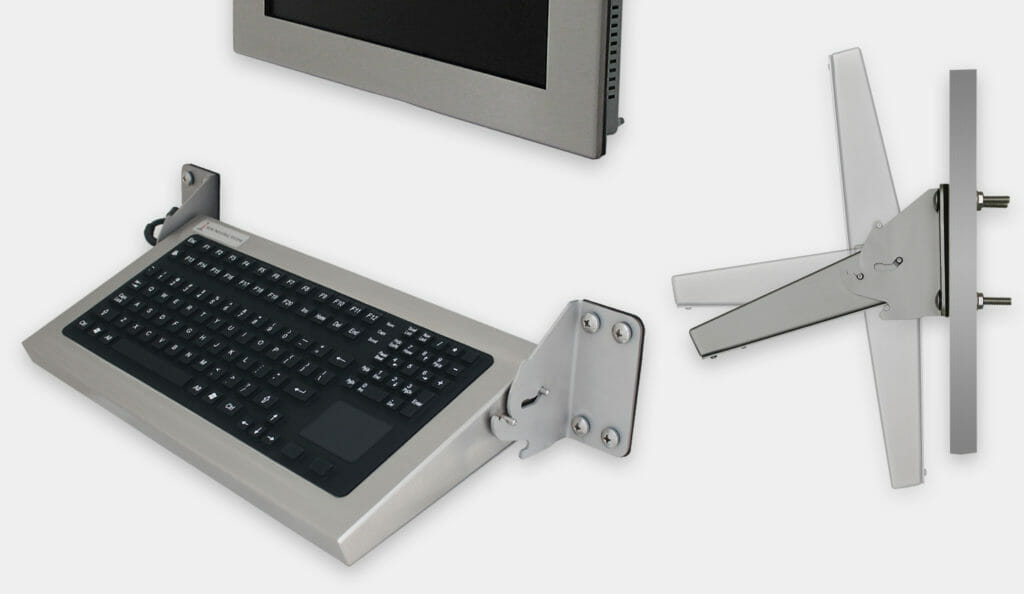 Folding Wall Mount Industrial Keyboards with Pointing Device, IP65/IP66 Rated