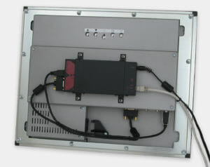 KVM Extender Mounted on Rear of Industrial Panel Mount Monitor VESA Bracket