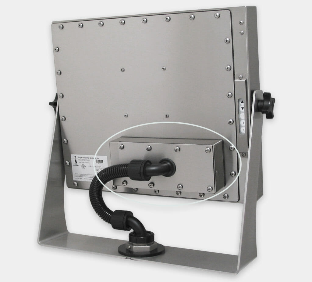 300m Industrial KVM Extender Rear Mounted on Universal Mount Monitor