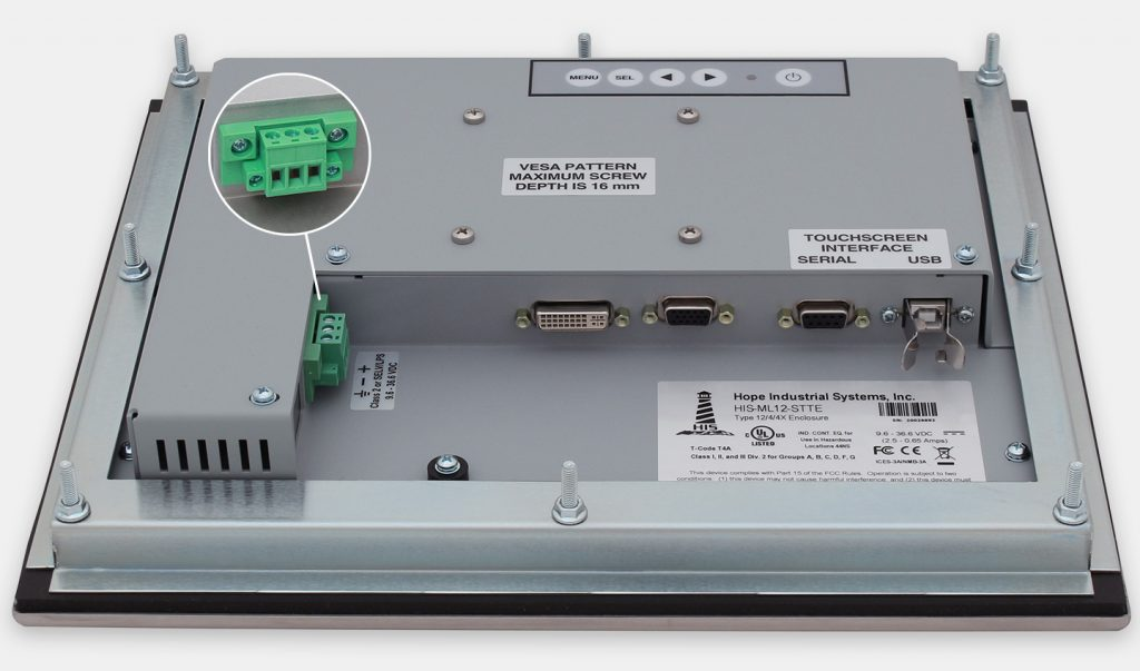 """12"""" Panel Mount Industrial Monitors and IP65/IP66 Rugged Touch Screens, DC cable exit view"""