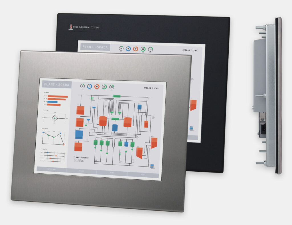 "12"" Panel Mount Industrial Monitors and IP65/IP66 Rugged Touch Screens, front and side views"