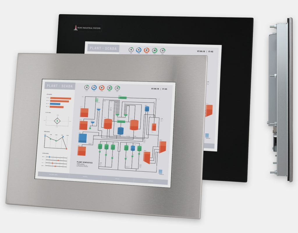 "15"" Panel Mount Industrial Monitors and IP65/IP66 Rugged Touch Screens, front and side views"