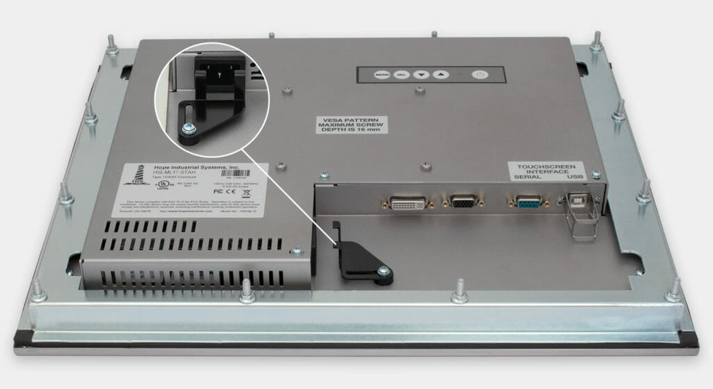 """17"""" Panel Mount Industrial Monitors and IP65/IP66 Rugged Touch Screens, AC cable exit view"""