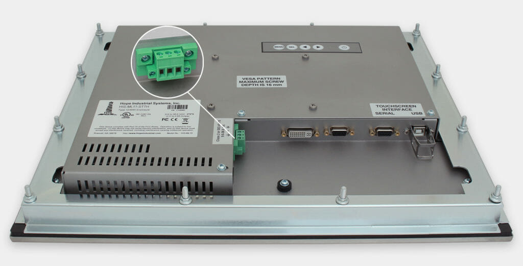 """17"""" Panel Mount Industrial Monitors and IP65/IP66 Rugged Touch Screens, DC cable exit view"""