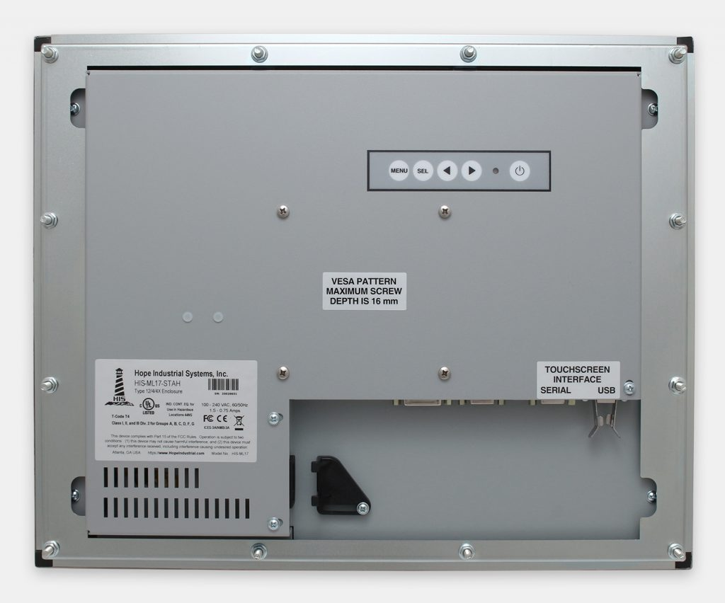 """17"""" Panel Mount Industrial Monitors and IP65/IP66 Rugged Touch Screens, rear view"""