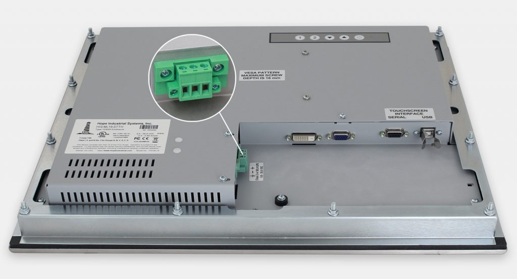 """19"""" Panel Mount Industrial Monitors and IP65/IP66 Rugged Touch Screens, DC cable exit view"""