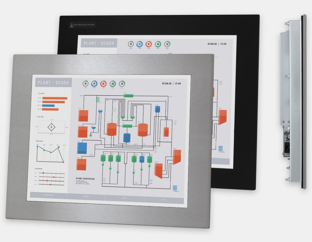 """19"""" Panel Mount Industrial Monitors and IP65/IP66 Rugged Touch Screens, front and side views"""