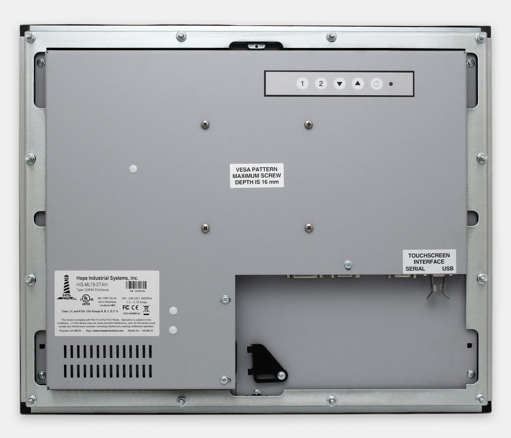 """19"""" Panel Mount Industrial Monitors and IP65/IP66 Rugged Touch Screens, rear view"""