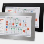 "19.5"" Widescreen Panel Mount Industrial Monitors and IP65/IP66 Rugged Touch Screens, front and side views"