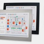 "20"" Panel Mount Industrial Monitors and IP65/IP66 Rugged Touch Screens, front and side views"