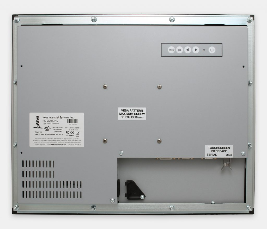 "20"" Panel Mount Industrial Monitors and IP65/IP66 Rugged Touch Screens, rear view"