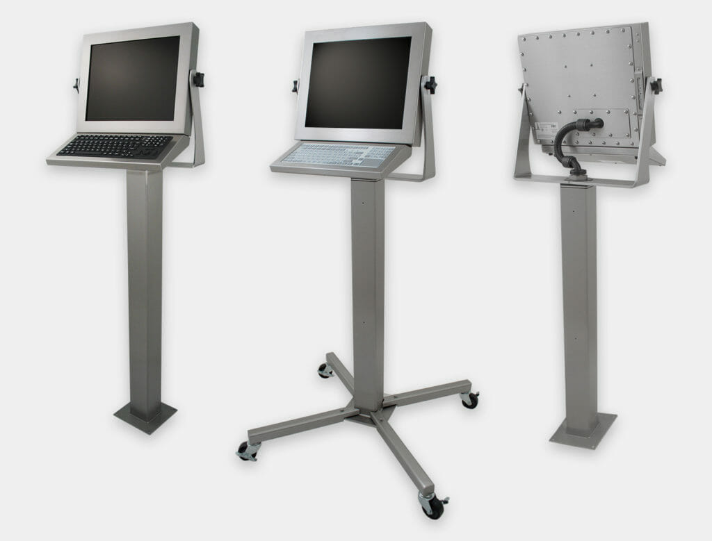 Heavy Industrial Pedestal Mount Options for Universal Mount Monitors and Touch Screens, IP65/IP66 Rated