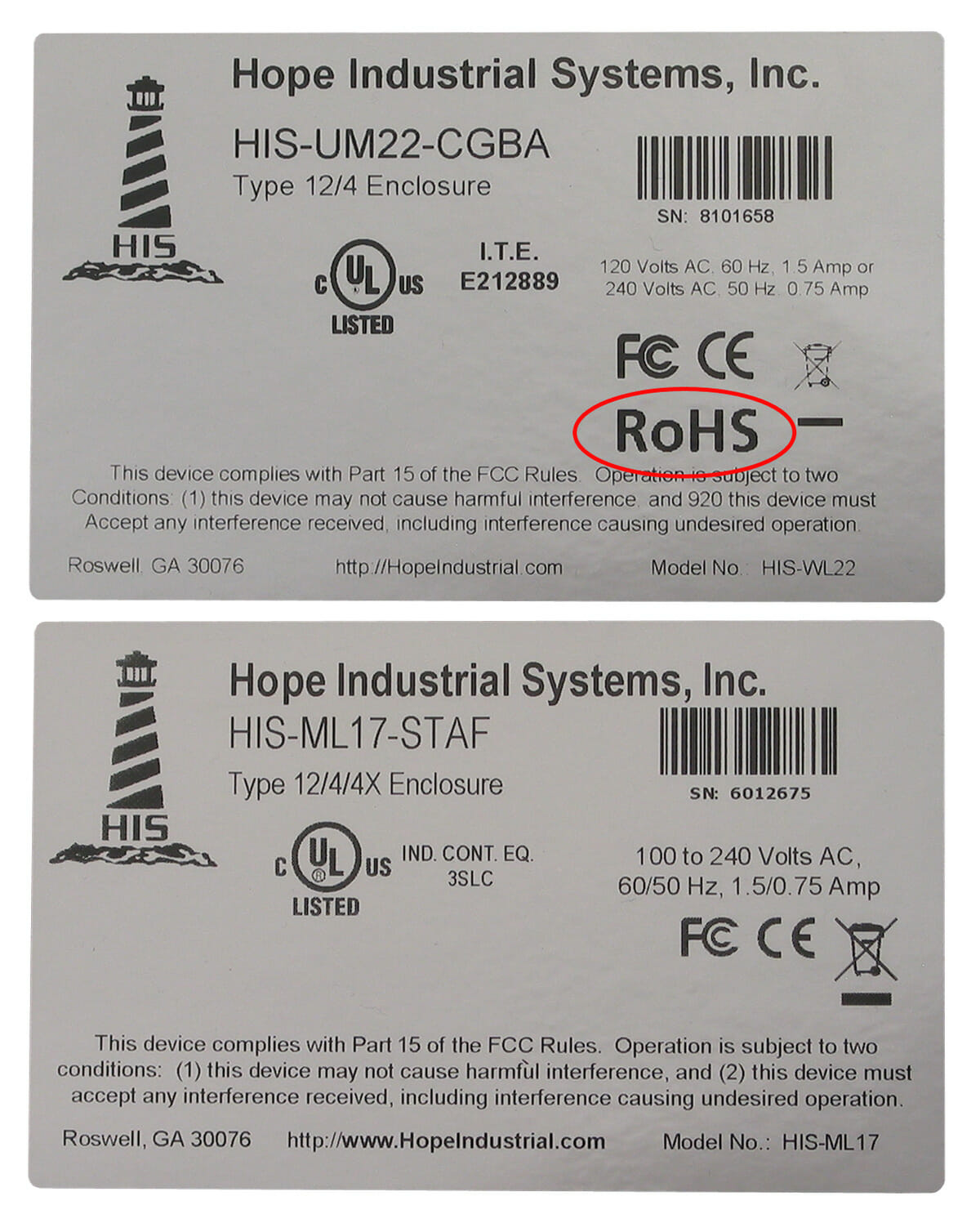 RoHS mark on Industrial Monitor Labels
