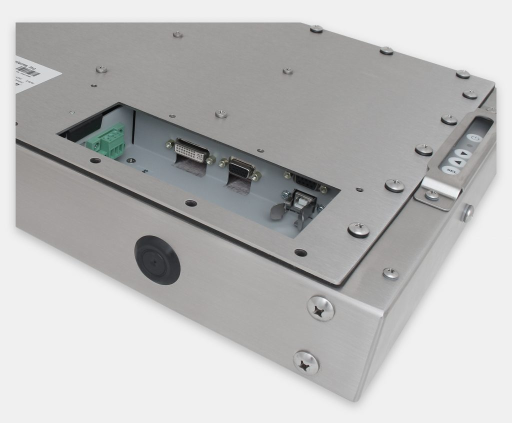 """15"""" Universal Mount Industrial Monitors and IP65/IP66 Rugged Touch Screens, DC cable exit view"""