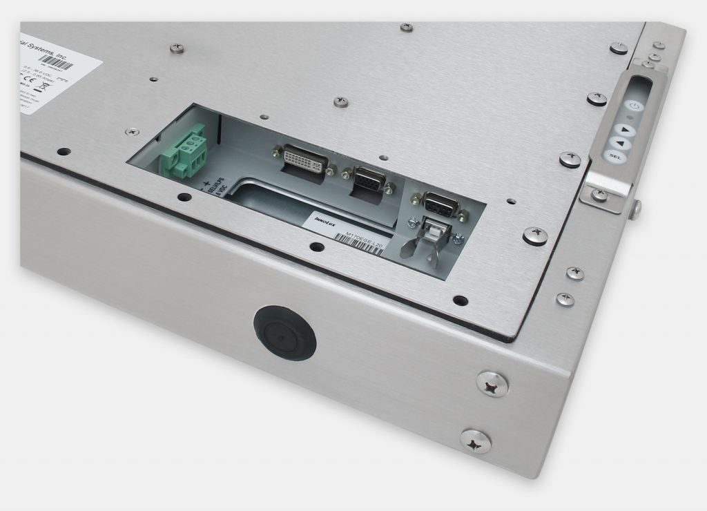"""17"""" Universal Mount Industrial Monitors and IP65/IP66 Rugged Touch Screens, DC cable exit view"""