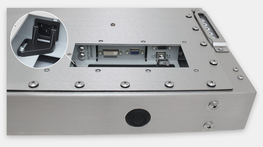 """19"""" Universal Mount Industrial Monitors and IP65/IP66 Rugged Touch Screens, AC cable exit view"""