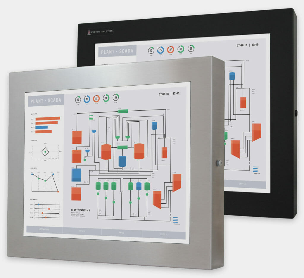 """19"""" Universal Mount Industrial Monitors and IP65/IP66 Rugged Touch Screens, front view"""