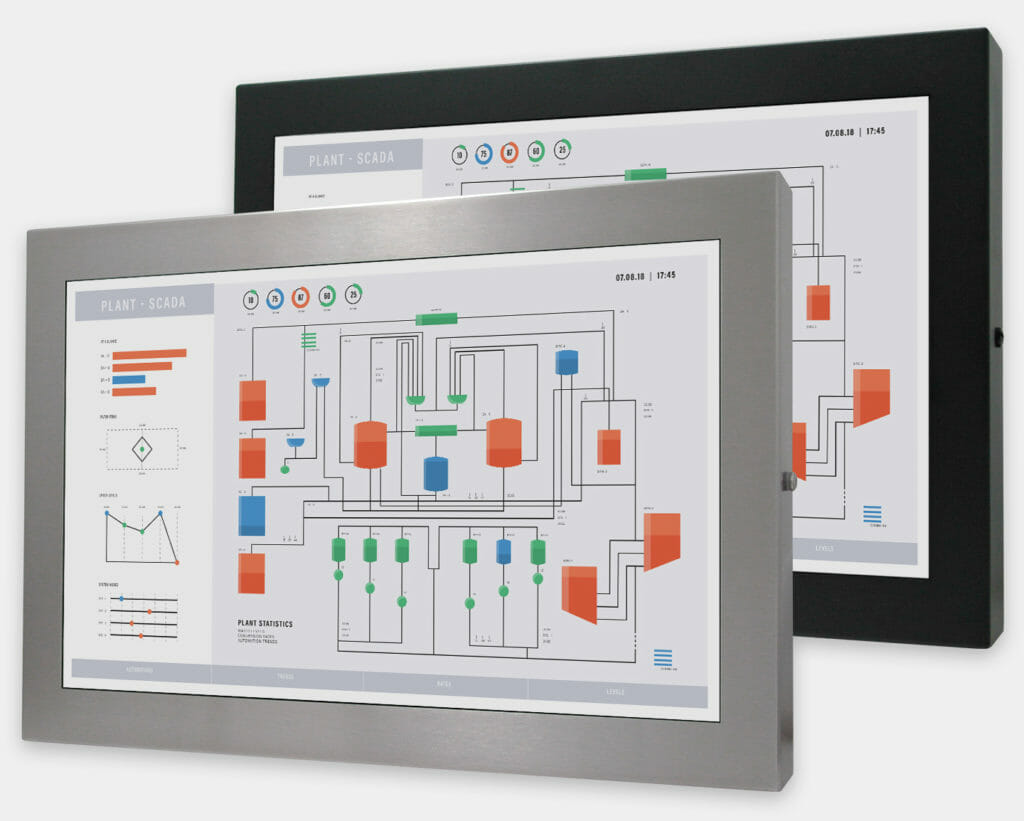 """22"""" Widescreen Universal Mount Industrial Monitors and IP65/IP66 Rugged Touch Screens, front view"""
