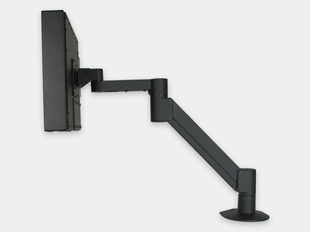 VESA Radial Arm Mount for Industrial Monitors, side view with monitor