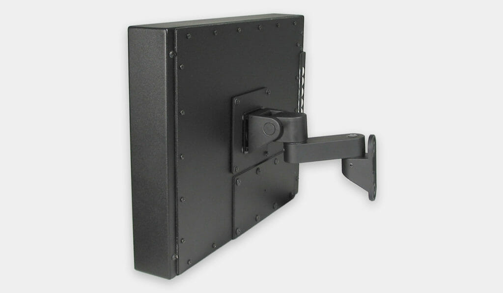 VESA Wall Mount Bracket for Industrial Monitors, side view with monitor mounted