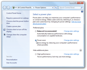 Windows Power Settings