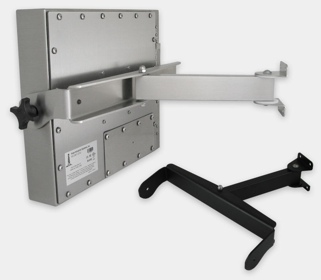 Heavy Industrial Wall Arm Mount Options for Universal Mount Monitors, Single Extension Arms