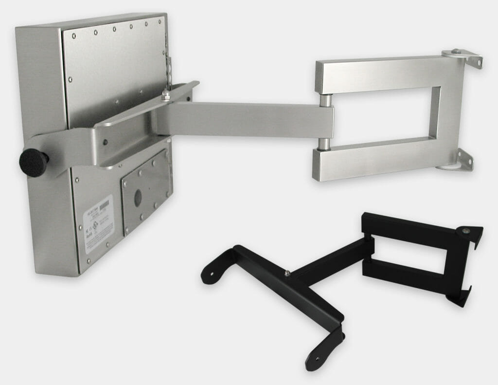 Heavy Industrial Wall Arm Mount Options for Universal Mount Monitors, Double Extension Arms