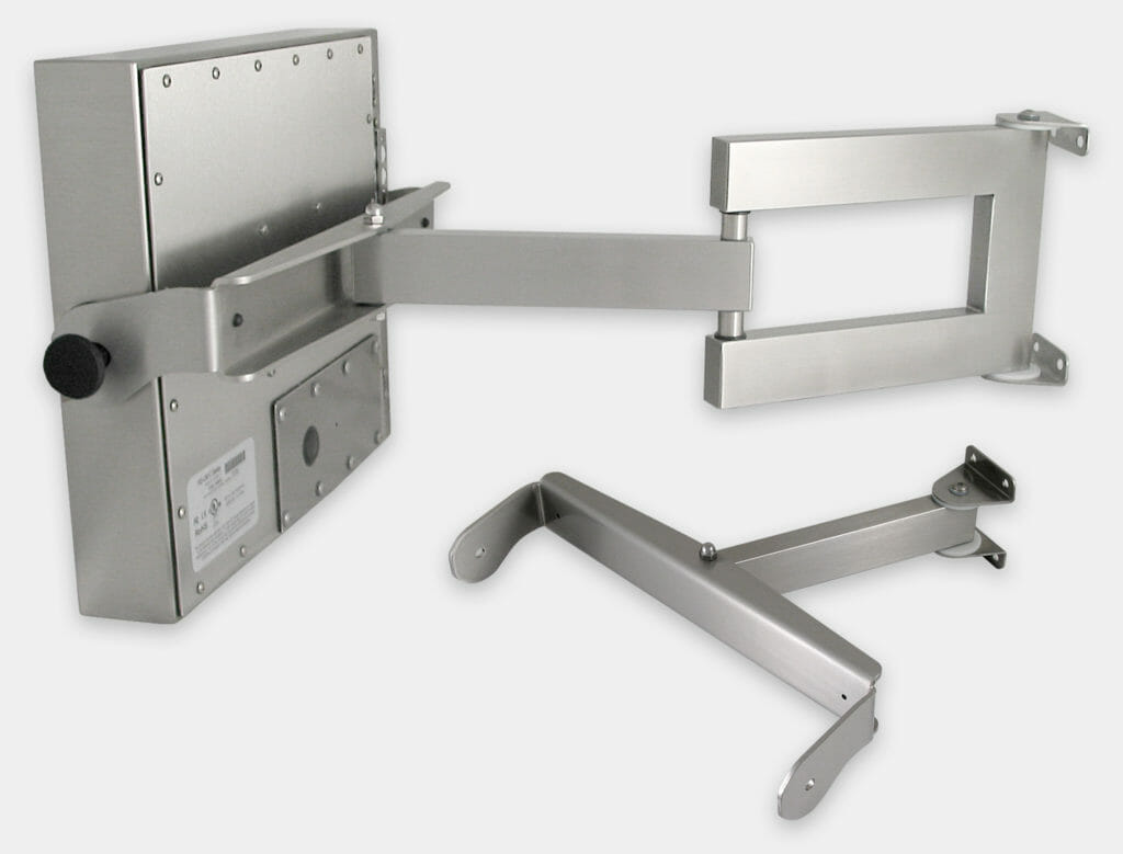 Heavy Industrial Wall Arm Mount Options for Universal Mount Monitors, IP65/IP66 Rated, Stainless Steel