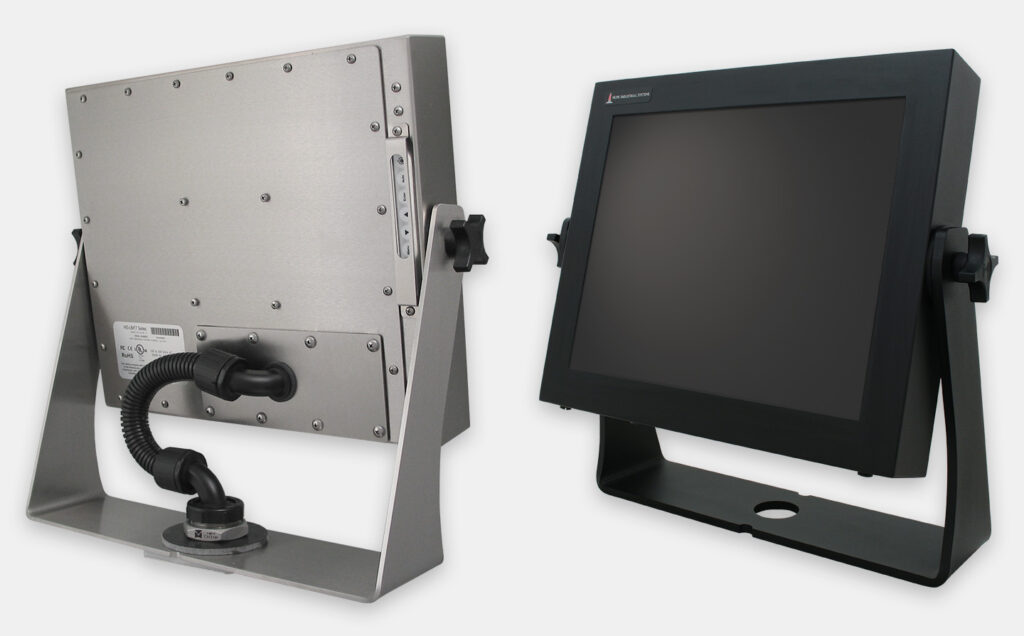 Heavy Industrial Benchtop Yoke Mount Options for Universal Mount Monitors, IP65/IP66 Rated, Stainless and Black Carbon Steel