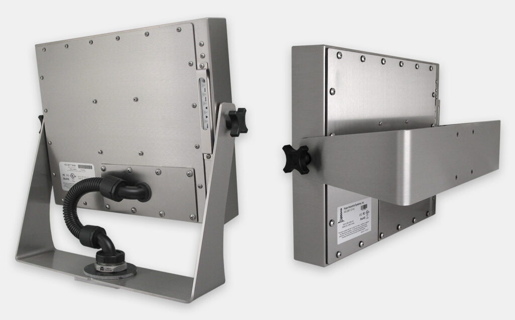 Heavy Industrial Yoke Mount Options for Universal Mount Monitors, IP65/IP66 Rated, Stainless Steel