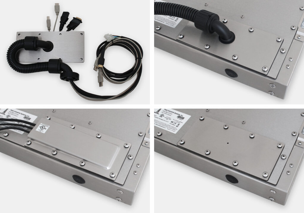 Cable Exit Plate Options for Industrial Universal Mount Monitors and Touch Screens