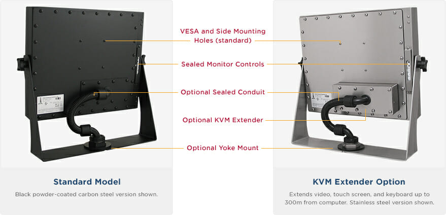 "Rear views of IP65/IP66 Rated 19"" Universal Mount Monitors showing Industrial Enclosure features and options"